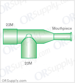 Intersurgical 22M T-Piece Mouthpieces with 22M Base - Case of 50