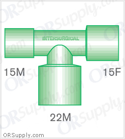 Intersurgical 15M to 15F T-Piece Connectors with 22M Base - Case of 50