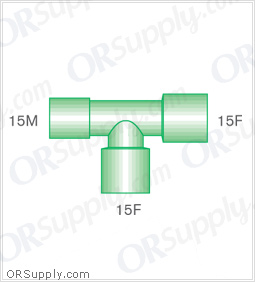 Intersurgical 15M to 15F T-Piece Connectors with 15F Base - Case of 50
