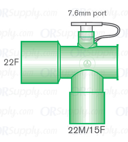 Intersurgical 22F to 22M and 15F Fixed Elbow Connectors with 7.6mm Port - Case of 50