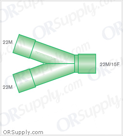 Intersurgical 22M to 22M and 15F Y-Piece Connectors - Case of 50