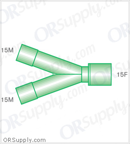 Intersurgical 15M to 15F Y-Piece Connectors - Case of 50
