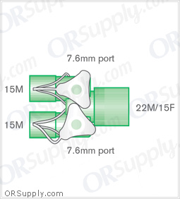 Intersurgical 15M to 22M and 15F Y-Piece Connectors with 7.6mm Customizable Ports - Case of 50