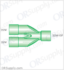 Intersurgical 22M to 22M and 15F Parallel Y-Piece Connectors - Case of 50