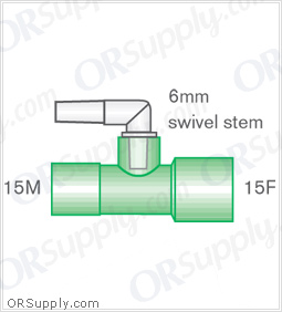 Intersurgical 15M to 15F Straight Connectors with 6mm Swivel Stem - Case of 50
