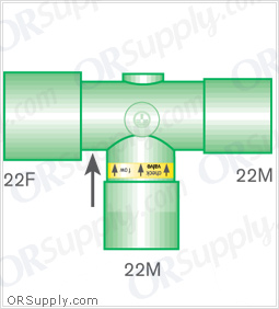 Intersurgical 22F to 22M Valved T-Piece Connectors with 22M Base - Case of 50