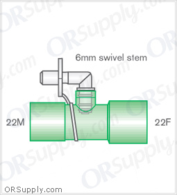 Intersurgical 22M to 22F Straight Connectors with 6mm Swivel Stem - Case of 50