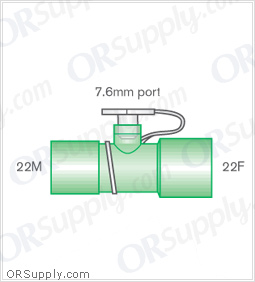 Intersurgical 22M to 22F Straight Connectors with 7.6mm Swivel Stem - Case of 50