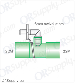 Intersurgical 22M to 22M Straight Connectors with 6mm Swivel Stem - Case of 50