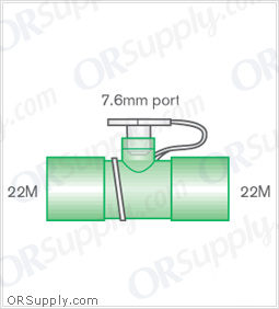Intersurgical 22M to 22M Straight Connectors with 7.6mm Port - Case of 50