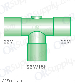 Intersurgical 22M to 22M T-Piece Connectors with 22M and 15F Base - Case of 50