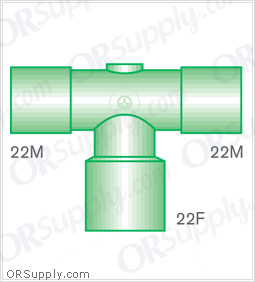 Intersurgical 22M to 22M T-Piece Connectors with 22F Base - Case of 50
