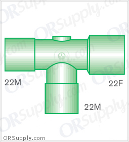 Intersurgical 22M to 22F T-Piece Connectors with 22M Base - Case of 50