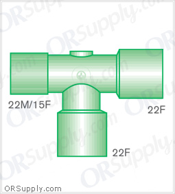 Intersurgical 22M and 15F to 22F T-Piece Connectors with 22F Base - Case of 50