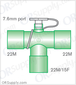 Intersurgical 22M to 22M T-Piece Connectors with 22M and 15F Base and 7.6mm Port - Case of 50