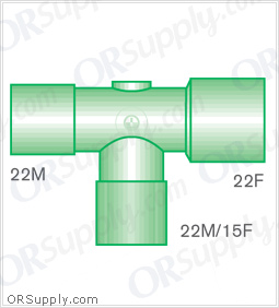 Intersurgical 22M to 22F T-Piece Connectors with 22M and 15F Base - Case of 50