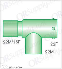 Intersurgical 22M and 15F to 22F T-Piece Connectors with 22M Base - Case of 50