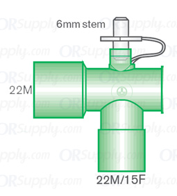 Intersurgical 22M to 22M and 15F Fixed Elbow Connectors with 6mm Stem - Case of 50