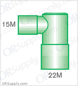 Intersurgical 15M to 22M and 15F Fixed Elbow Connectors - Case of 50