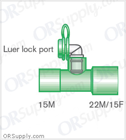 Intersurgical 15M to 22M and 15F Straight Connectors with Luer Lock Monitoring Port - Case of 50