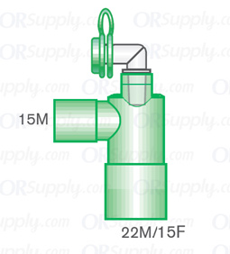 Intersurgical 15M to 22M and 15F Fixed Elbow Connectors with Luer Port & Cap - Case of 50