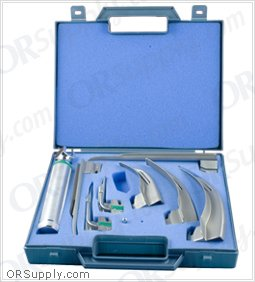 Sun-Med GreenLine Fiber Optic MacIntosh & Miller English Profile Laryngoscope Set