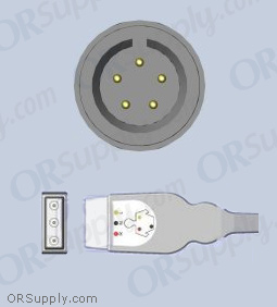 5-Pin Inverse IEC ECG Cable for Advanced Medical, Aequitron, ATL, Del Mar, and GE Medical