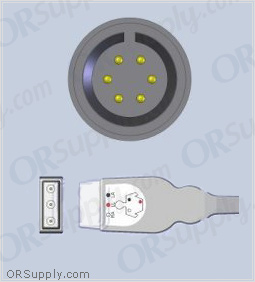 3-Lead ECG Cable with 6-Pin Monitor Connector and Safety DIN AHA Patient Connectors