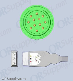 Kontron ECG Cable, 3-Lead Inverse IEC Safety Din