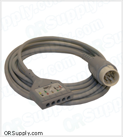 5-Lead ECG Cable for 8-Pin Hewlett Packard Codemasters and Merlin Monitors