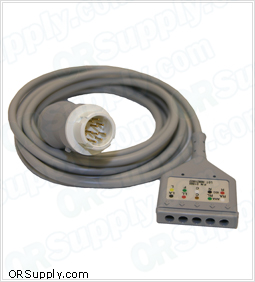 5-Lead ECG Cable for 12-Pin Hewlett Packard Codemasters and Merlin Monitors