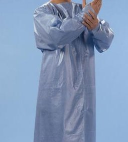 "Protective Gown, Blue, Spunbound/ Poly, 46"" x 42"", 50/cs - GRAHAM PROFESSIONAL FLUID RESISTANT GOWNS"