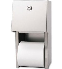 "GP Stainless Steel Covered Two-Roll Vertical Standard Tissue Dispenser, 7""W x 6¼""D x 12¾""H, 6/cs - GEORGIA-PACIFIC PAPER TOWEL DISPENSERS"